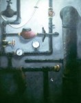 """""""En massa rör"""", olja på duk, 80 cm x 110 cm, 1990"""