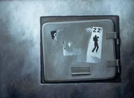 """""""Skyddsrumslucka"""", olja på duk, 70 cm x 100 cm, 1991"""