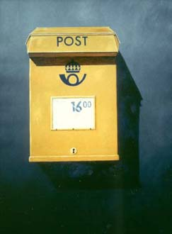 """""""Brevlåda"""", olja på duk, 70 cm x 100 cm, 1991"""