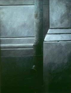 """Stupränna"", olja på duk, 70 cm x 100 cm, 1991"