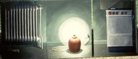 """""""Fjärrvärme"""", """"Elektricitet"""" och """"Gas"""", olja på duk, triptyk, 70 cm x 100 cm Göteborgs Energi AB, 1992"""