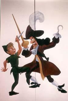 """""""Peter Pan & Kapten Krok"""" Olja på garderobsdörr, 170 cm hög Privat ägo, 1993"""