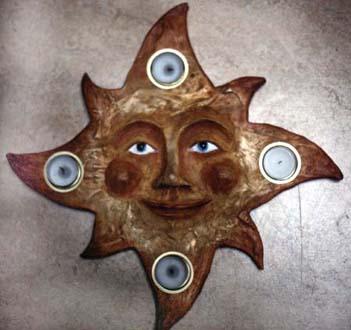 """""""Sol"""" Ljusstake i gips och oljefärg Privat ägo, 1993"""