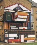 """""""Codex"""", Katrinelundsgymnasiet, Göteborg, 12,5 m hög, fasadmålning, Nordsjö Sandokryl, kund; Lokalförsörjningsförvaltningen (LFF), november 1994"""