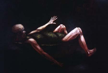 """""""Sköldpadda"""", olja på masonit, 84 cm x 120 cm, 1995"""