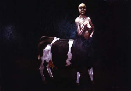 """""""Ko"""", olja på masonit, 70 cm x 100 cm, 1995"""