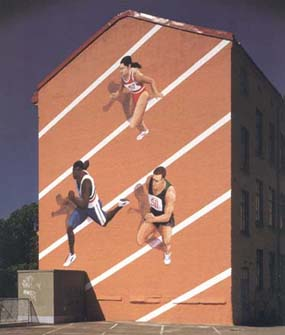 """""""Breaking Barriers"""", Stampgatan 8, Göteborg, 12 m hög, fasadmålning, Nordsjö Sandokryl, kund: Adolfssons Måleri AB, 1995"""