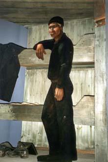 """""""Sjöman"""" till basutställningen """"Kampen mellan segel och ånga"""" Olja på formsågad masonit, 190 cm hög Sjöfartsmuseet i Göteborg, 1996"""