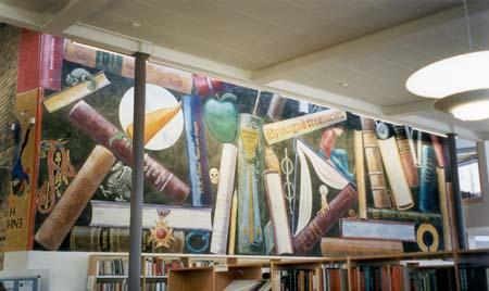 """""""Codex II"""", Katrinelundsgymnasiet, Göteborg, 4,5 m X 9,5 m, muralmålning, vinyl på putsad vägg, kund: Lokalförsörjningsförvaltningen, november 1996"""