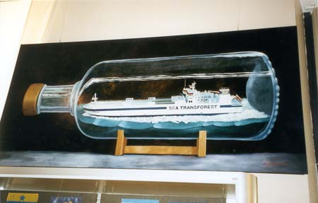 """""""Obbola"""" del av basutställningen """"1900-talets sjöfart"""", olja på masonit, 120 cm x 200 cm Sjöfartsmuseet i Göteborg, 1996"""