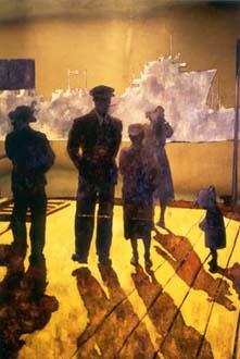 """""""Sjömanshustrun"""" del av basutställningen """"1900-talets sjöfart"""", olja på plåt, 250 cm hög Sjöfartsmuseet i Göteborg, 1996"""
