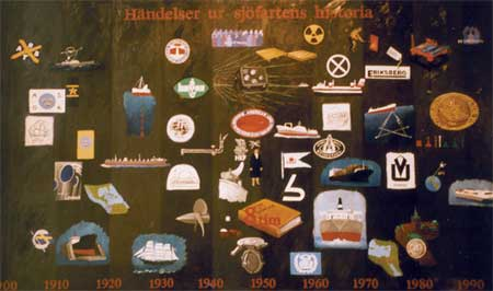 """""""Händelsediagram"""" del av basutställningen """"1900-talets sjöfart"""", olja på masonit, 120 cm x 200 cm Sjöfartsmuseet i Göteborg, 1996"""