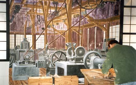 """""""Remfabrik"""", del av basutställningen """"Buseet"""", vinyl på vägg, 260 cm x 400 cm Göteborgs Stadsmuseum, maj 1996"""