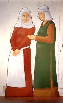"""""""Damer på torg"""", del av basutställningen """"Porten mot väster"""", vinyl på formsågad MDF, 170 cm hög Göteborgs Stadsmuseum, 1997"""