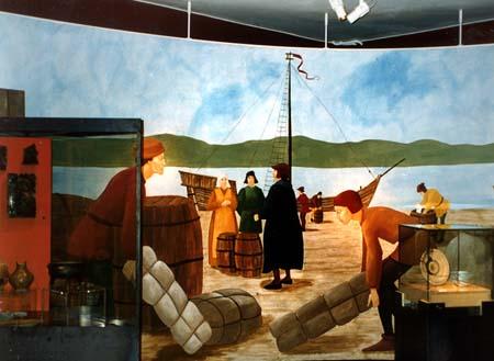 """""""Hamnen"""", fondvägg del av basutställningen """"Porten mot väster"""", vinyl på linne, ca 6 m lång Göteborgs Stadsmuseum, 1997"""