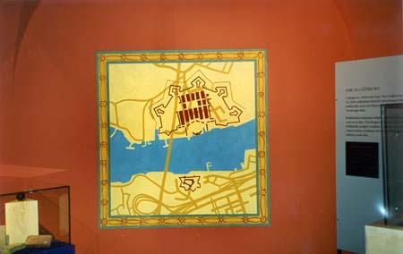 """""""Karta över Göteborgs inlopp"""", del av basutställningen """"Porten mot väster"""", vinyl på vägg, 1 m x 1 m Göteborgs Stadsmuseum, 1997"""