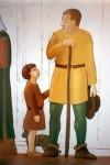 """""""Man på torg"""", del av basutställningen """"Porten mot väster"""", vinyl på formsågad MDF, 170 cm hög Göteborgs Stadsmuseum, 1997"""