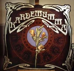"""Kardemumma"", Olja på formsågad masonit, 110 cm x 120 cm  Conditorie P.I. Urban, Östra Larmgatan 6, Göteborg, 1997"