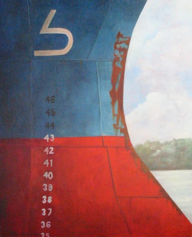 """""""Maersk"""", olja på duk, 64 cm x 81 cm, 1998"""