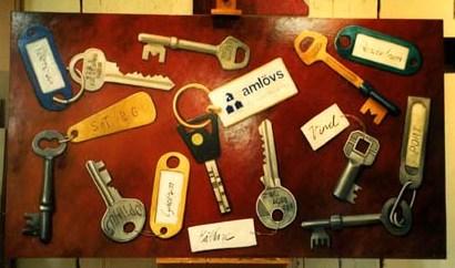 """Amlövs nycklar"", olja på masonit, 120 cm x 200 cm, Amlövs Fastighets AB, Göteborg 1998"