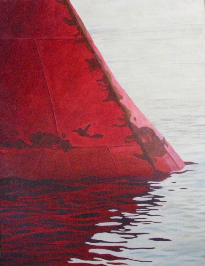 """Röd bulb"", olja på duk, 64 cm x 81 cm, 1998"