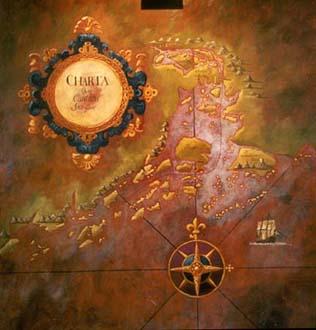 """Charta öwfer Cantons skärgård"", olja på masonit, 120 cm x 130 cm, Ostindiska Krog & Kafé, 1998"