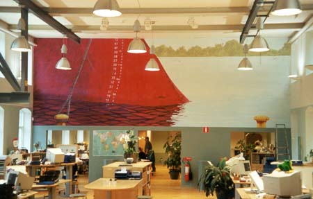"""Fartyg"", Mölnlycke Fabriker, 3,5 m X 9 m, muralmålning, Flashe vinylfärg Kund: MSAS Aerocar Logististics AB"
