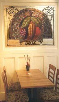 """""""Kakao"""" från Conditori Steinbrenner & Nyberg Olja och slagmetall på 6 mm masonit, 100 cm x 130 cm, 2001"""