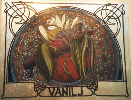 """""""Vanilj"""" från Conditori Steinbrenner & Nyberg Olja och slagmetall på 6 mm masonit, 100 cm x 130 cm Freeport i Kungsbacka, 2001"""
