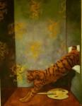 """""""Katt"""", olja på masonit, 60 x 120 cm, 2003"""