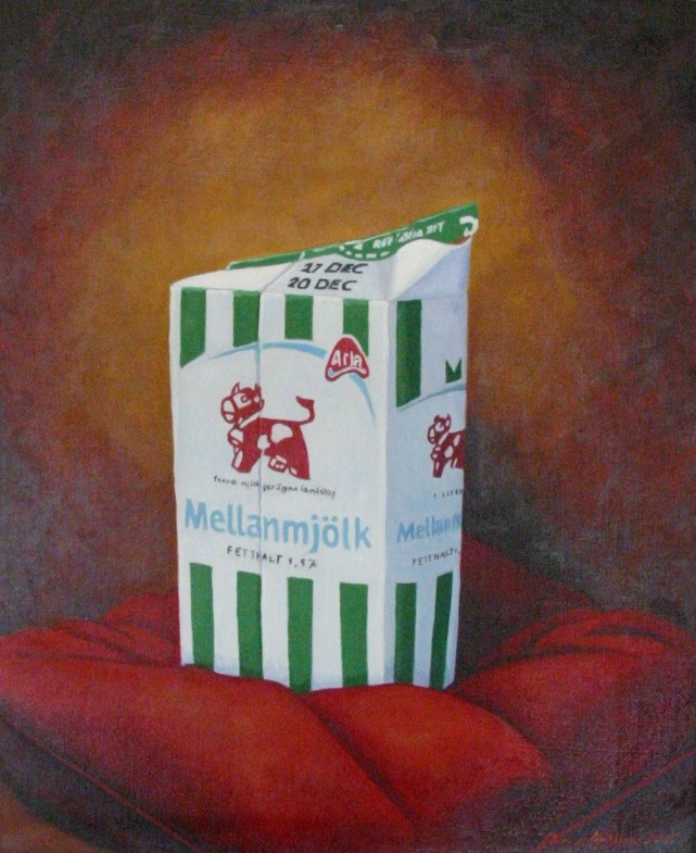 """Mellanmjölk/Gala"", olja på duk, 40 cm x 50 cm x 4 cm 2004"