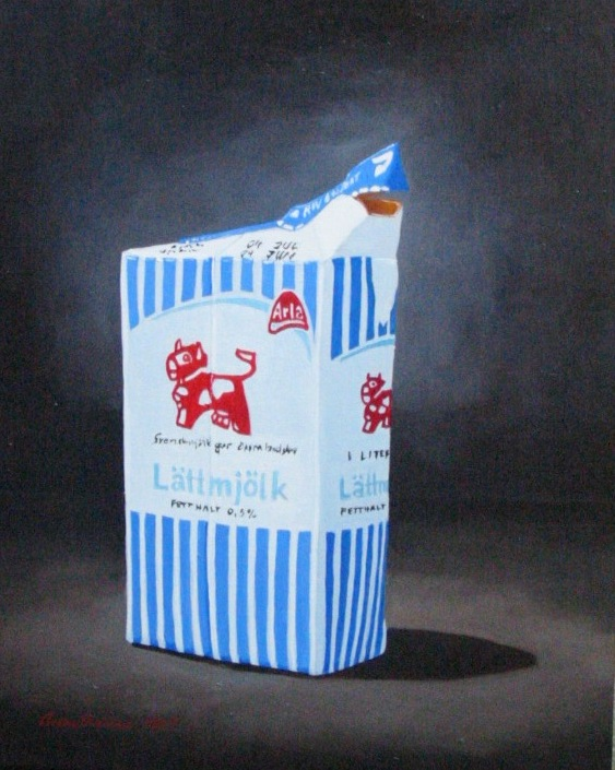 """""""Lättmjölk"""", olja på duk, 40 cm x 50 cm x 4 cm, 2005"""