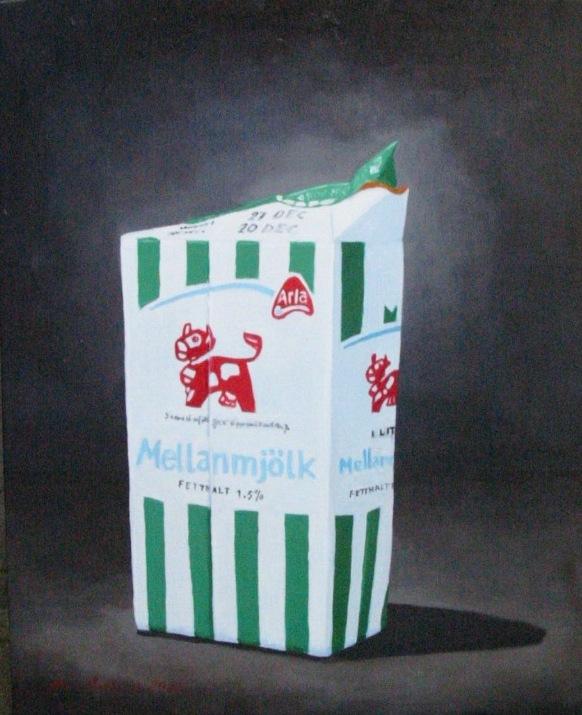 """Mellanmjölk"", olja på duk, 40 cm x 50 cm x 4 cm, 2005"