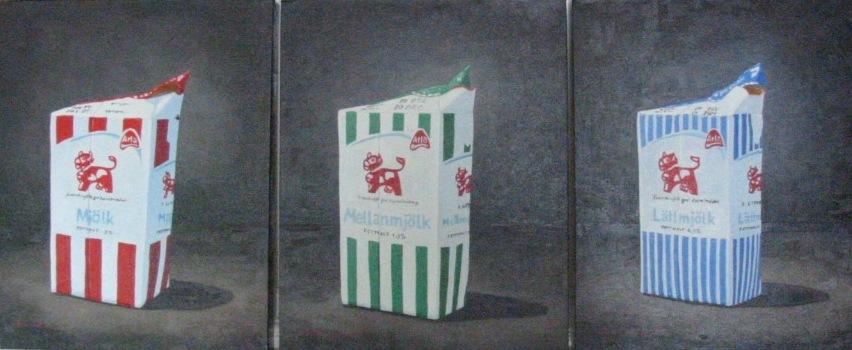 """""""Mjölk"""", triptyk, olja på duk, 40 cm x 50 cm x 4 cm, 2005"""