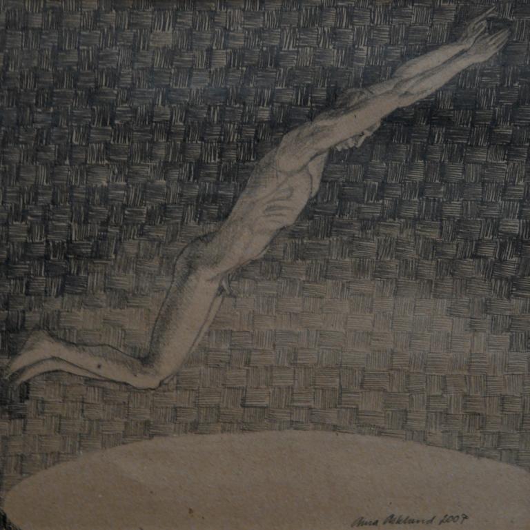 """""""Hopp I"""", blyerts på papper, 2007"""