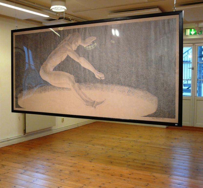 """""""Hopp """", blyerts på papper, 2007"""