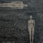 """""""Möte 1"""", blyerts på papper, 2007"""
