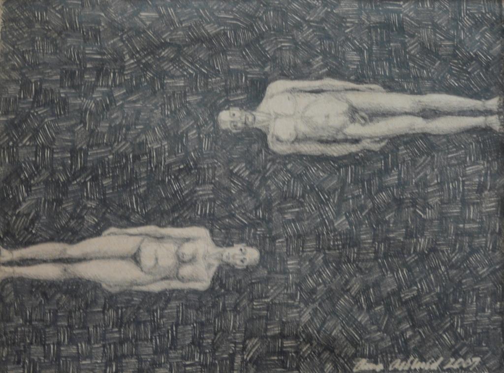 """""""Möte 2"""", blyerts på papper, 2007"""