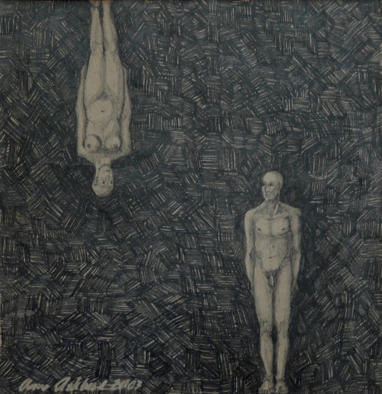 """""""Möte 3"""", blyerts på papper, 2007"""