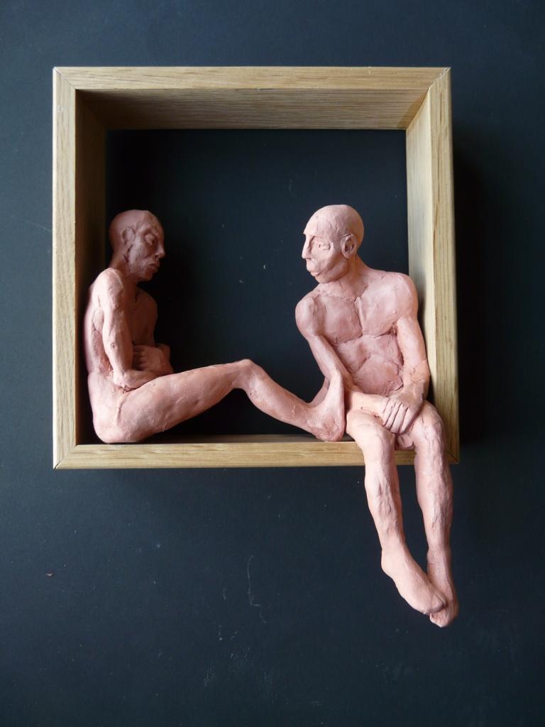 """""""Man 26"""", lufttorkad lera i låda av ek, 2008"""