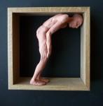 """""""Man 34"""", lufttorkad lera i låda av ek, 2008"""