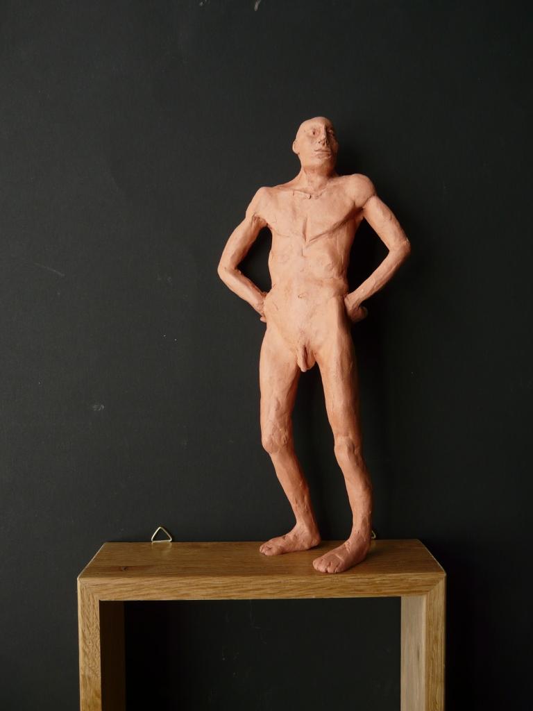"""""""Man 9"""", lufttorkad lera i låda av ek, 2008"""