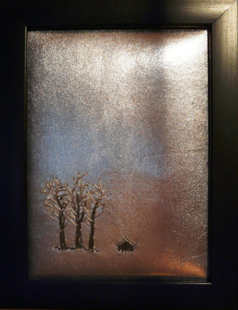 """""""Vinterlandskap"""", fritt broderi, 13 x 18 cm, 2009"""