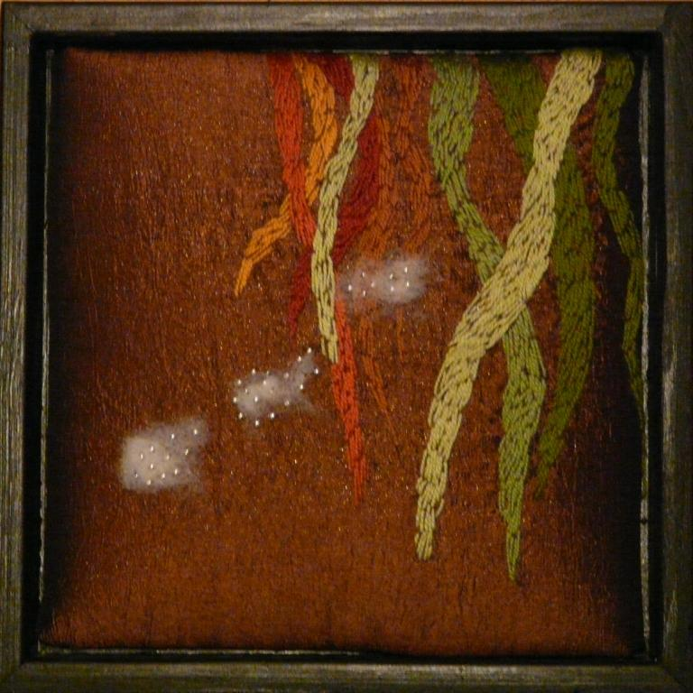 """""""Vått gräs"""", fritt broderi, 20 x 20 cm, 2009"""
