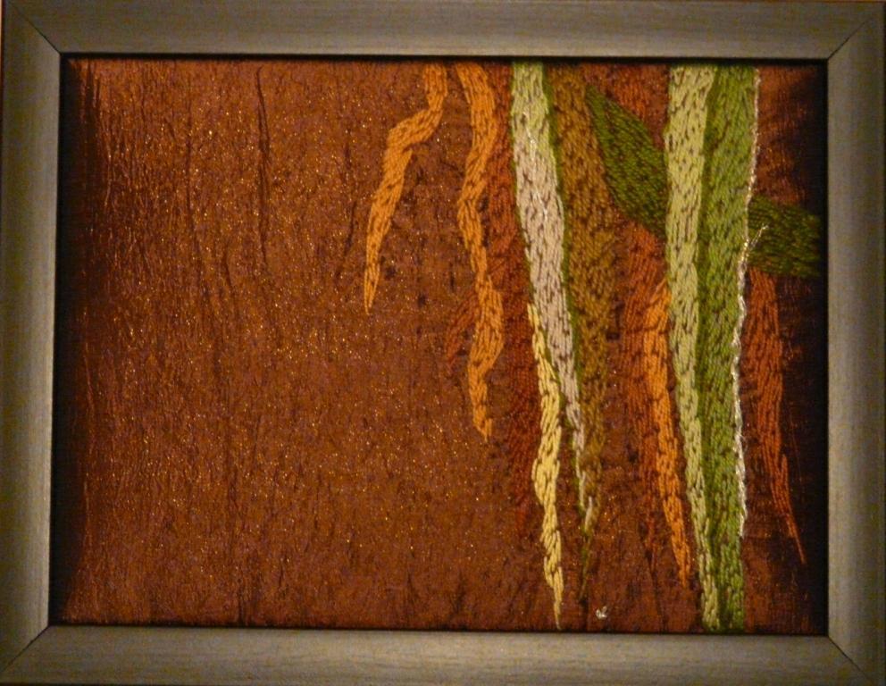 """Gräset i ån"", fritt broderi, 24 x 18 cm, 2009"