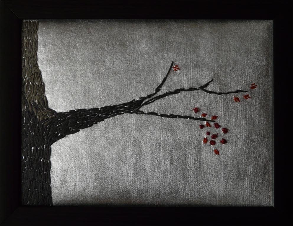"""Gren"", fritt broderi, 20 x 18 cm, 2009"