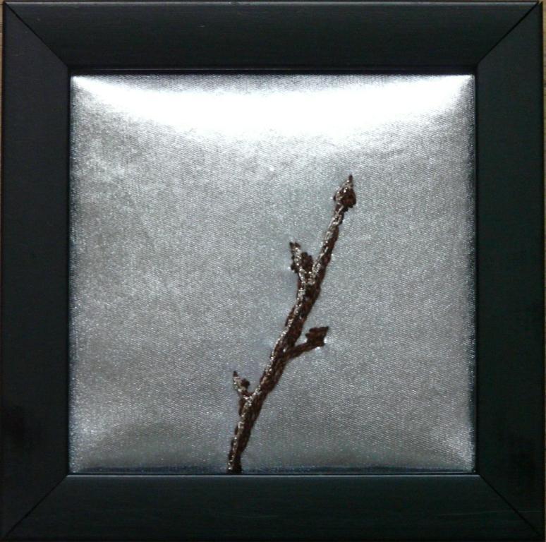 """""""Kvist i snö"""", fritt broderi, 12 x 12 cm, 2010"""