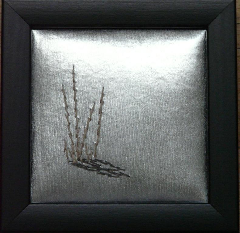 """Gräs i snö"", fritt broderi, 12 x 12 cm, 2010"