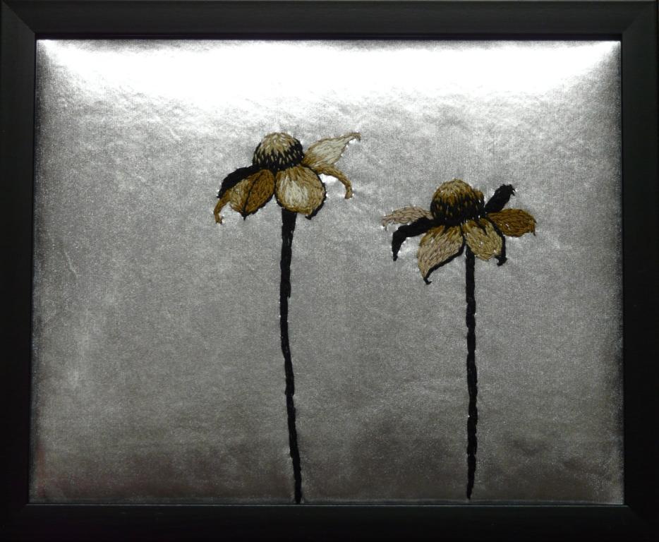 """""""Vinterblommor"""", fritt broderi, 24 x 30 cm, 2010"""