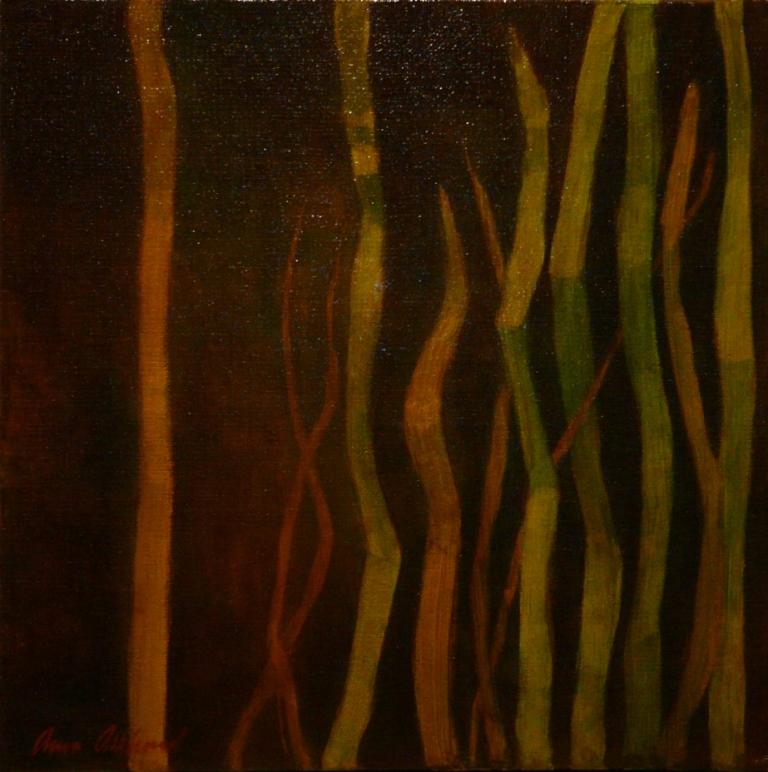 """""""Grässtrån 2"""", olja på duk 30 x30 cm, 2010"""